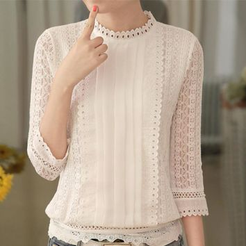 women autumn casual white lace blouse 2016 fashion sexy 3/4 sleeve stand collar crochet tops summer korean shirt clothes A633