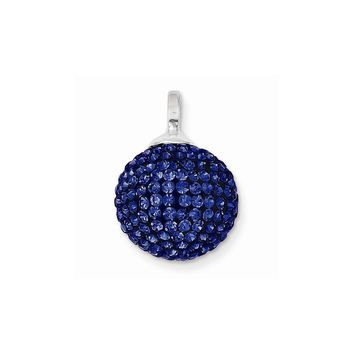 Sterling Silver Stellux Crystal 14mm Royal Blue Ball Pendant
