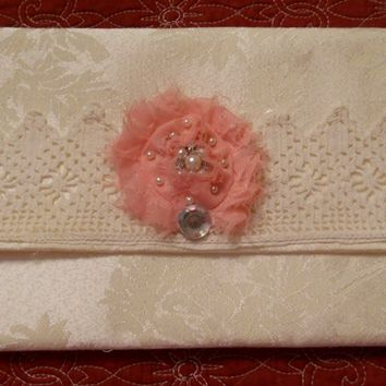 Bag, Clutch Handmade purse, Ivory damask with cream vintage hadn crocheted lace and a pink fabric flower with rhinestones