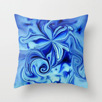 Blue Flower Swirl Throw Pillow by Lilbudscorner