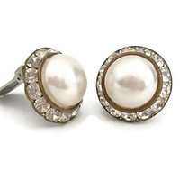 Vintage Rhinestone Faux Pearl Cabochon Clip Earrings - Midcentury Domed Round Button Clip On - Clear Rhinestones