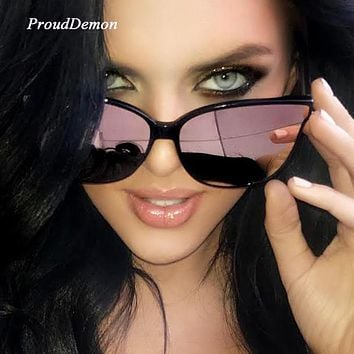 2018 Fashion Women Colour Luxury Flat Top Cat Eye Sunglasses Elegant oculos de sol men Twin Beam oversized Sun glasses  UV400