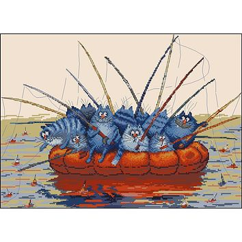 Top Quality Gold Collections Lovely Counted Cross Stitch Kit Funny Blue Cats Fishing Cat in the Llake Catch