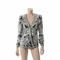 Vintage 80s Judith Ann Silk Sequin Art Deco Jacket Wrap Blouse 1980s Black and Silver Cocktail Party Dress Jacket Top / XS to Small