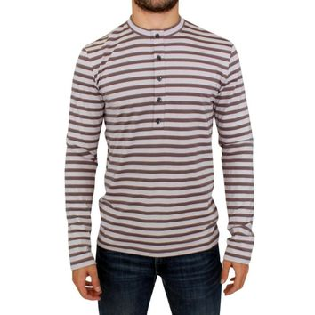 Galliano Brown striped cotton t-shirt