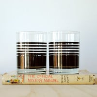 Vintage Whiskey Glasses Mod Stripes Black and White Mikasa Bob Van Allen Set of 4