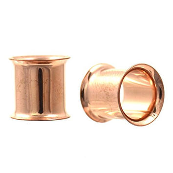 Pair of Rose Gold Color Ion Plated Double Flared Ear Plug Tunnels - 00G 10mm