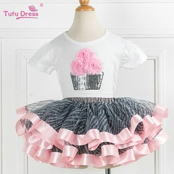 Tutu Dress Super Fluffy Girls Birthday Tutu Set Sequin Cupcake 2PC Outfit