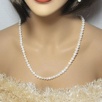 Classic White Pearl Necklace String of Beautiful Cultured Pearls