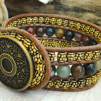CUSTOM cuff bracelet genuine natural leather wrap bead work with Indian agate gemstone beads chan luu indie boho surfer style