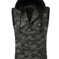 LE3NO Mens Denim Camo Print Vest with Detachable Hoodie