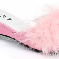 Girl's Pink Feather Slip-On Shoes