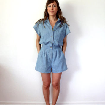 Reserved for Norbyah 90's Eddie Bauer Chambray Jumpsuit Romper
