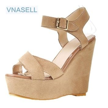 Vintage strap wedges genuine leather open toe sandals size platform high-heels shoes US size 3  30 31 32 33 41 42 43