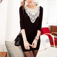 New Womens Ladies Sexy Long Sleeve Lace Lady Casual Slim Party Mini Dress
