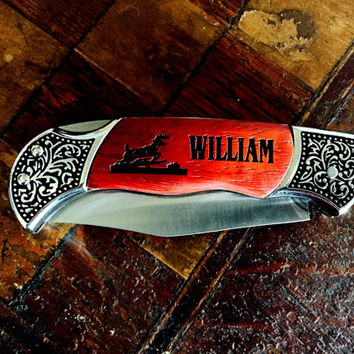 Personalized Laser Engraved Deer Knife