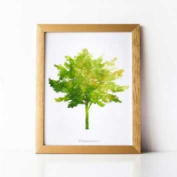 Nature print, Green tree wall art print, Green Home decor print, Tree decor Wall print, Bedroom art Printable wall decor art, Digital print