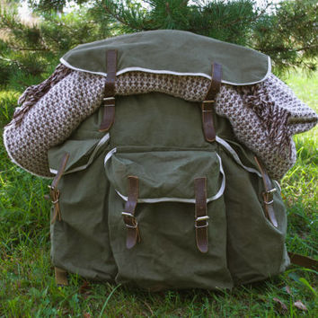 HUGE Hiking Rucksack / NOS Soviet Vintage Travel Backpack, Canvas & Genuine Leather / Very Large Khaki Camping / Expedition / Explorer Bag