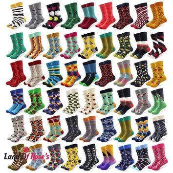 20 Pairs/lot Creative Men's Colorful Striped Cartoon Combed Cotton Happy Socks Crew Wedding Gift Casual Crazy Funny Socks Crazy