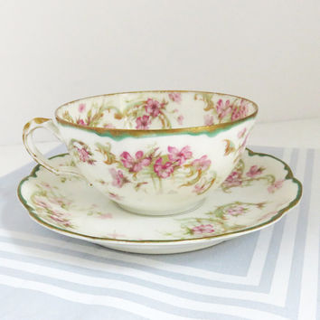 Vintage Haviland Limoges teacup and saucer with pink flowers gold and green trim