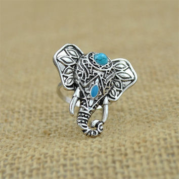 For Women Men Beach Unique Carving Tibetan Silver Plated Ring Elephant Ring S Bohemia Vintage Punk Rings SM6