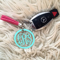 Monogram Keychain With Tassel - 2 INCHES - Tassel Keychain