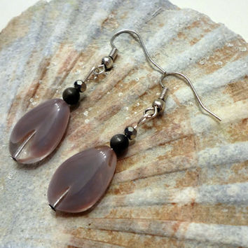 Purple Dangle Earrings by EudaimoniaJewelry on Etsy