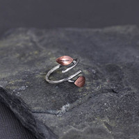 Copper Leaf Branch RIng, Adjustable Ring, Rustic Organic Style, Sterling Silver and Copper, Gifts for her,