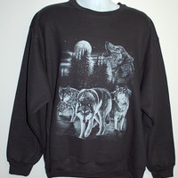 Wolf, Wolves, Sweatshirt, Blue moon, full moon, black. Sizes Small - XL