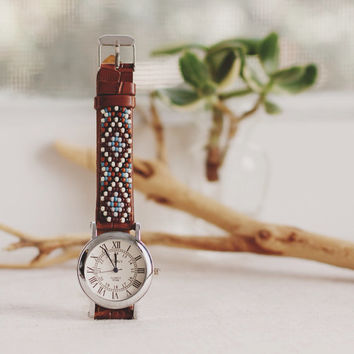BW-12, Free U.S shipping,Native American inspired hand-beaded watch.brown,leather,handmade,hippie,boho,hipster BW04
