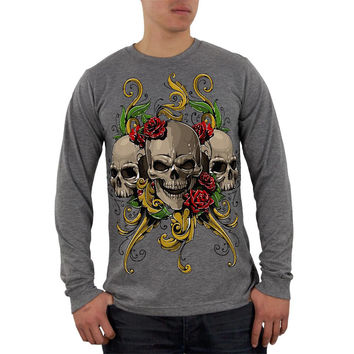 Skulls and Roses Tattoo Mens Soft Long Sleeve Blend T Shirt