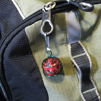 Wire Wrapped D20 - Red Dice with Green Wire