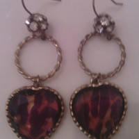 Vinatge Errings, 1980's, heart earrings, hoop heart drop dangling  2 inches tall, brownish-purple in color  10% off with coupon code