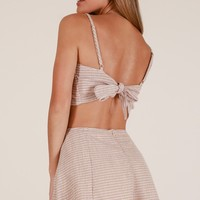 Camila two piece set in beige stripe Produced By SHOWPO