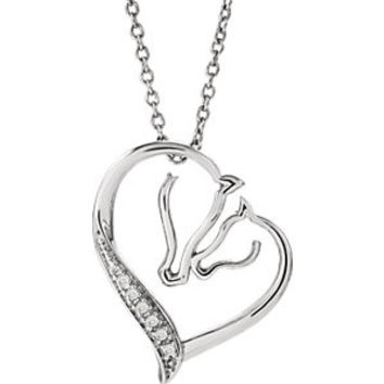 "Sterling Silver .03 CTW Diamond Tender Voices Horse Silhouette 18"" Necklace"