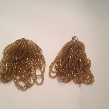 Vintage Gold Tassel Earrings Glass Seed Beads 1980s Costume Jewelry