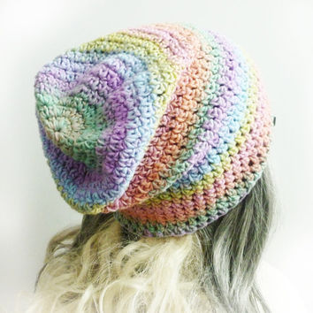 Pink Slouchy Beanie Unicorn Tears Pastel Rainbow Womens Girl Teen hat Soft Crochet slouch gaming beanie hat pink yellow blue lilac mint