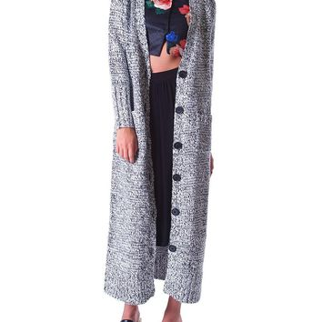 Count On You Sweater Long Cardigan - Black/White