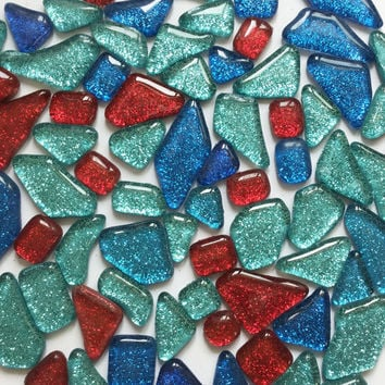 Blue Red Glitter Mosaic tiles | Irregular Mosaic Glass | Mosaic art Stained glass |Decorative mosaic | Mix 100g (approx. 55pcs) #65