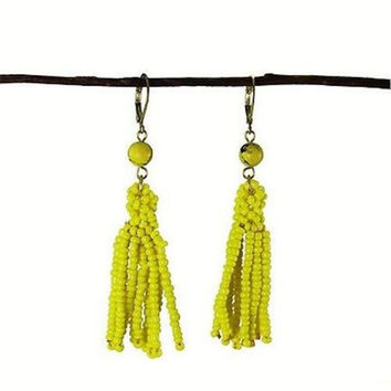 Lemon Tassel Drop Earrings - WorldFinds
