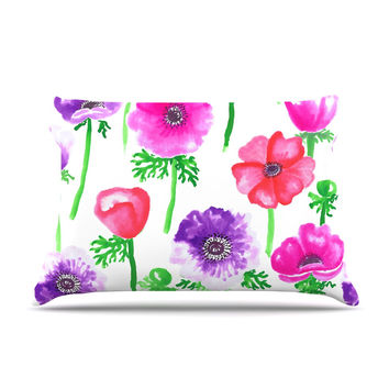 "Anneline Sophia ""Anemones"" Pink Flowers Pillow Case"
