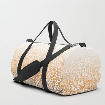 Gradient orange and white swirls doodles Duffle Bag by Savousepate