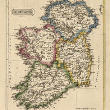 Antique Map of Ireland (c1817) by Fielding Lucas - Archival Reproduction