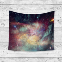 """Painted Rainbow Galaxy"" Colorful Galaxy Wall Tapestry"