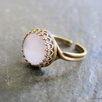 Rose Quartz Ring Adjustable Pink Gemstone Ring Precious Stone Jewelry Exotic Boho Indie Blush Light Pink Soft Dreamy Dark Fall Autumn Winter