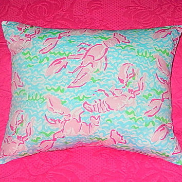 New Pillow Made with Lilly Pulitzer Lobstah Roll fabric