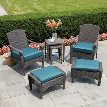Patio Conversation Set with Turquoise Cushion 6-Piece Wicker