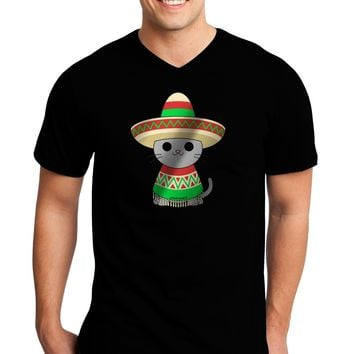 Sombrero and Poncho Cat - Metallic Adult Dark V-Neck T-Shirt by TooLoud