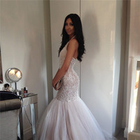 New Design Luxury Crystal Beaded Mermaid Prom Dresses 2016 Sexy Backless Tulle Long Evening Party Dress Elegant Prom Gowns Onlie
