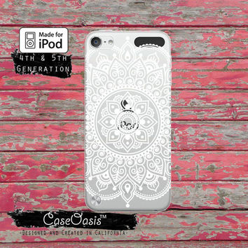 White Mandala Henna Line Art Intricate Floral Design Cute Case for Clear Transparent Rubber iPod Touch 5th Generation Case 5th Gen Cover